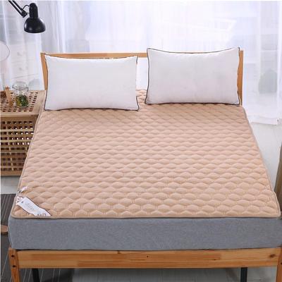 可水洗全棉绗绣夹棉床垫床护垫 120X200cm 驼色