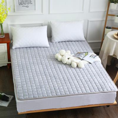 水晶绒压花绗绣夹棉床垫 90*200cm 灰色