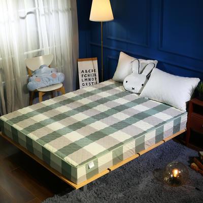 水洗棉色织全棉绗绣夹棉床笠 150cmx200cm 绿大格