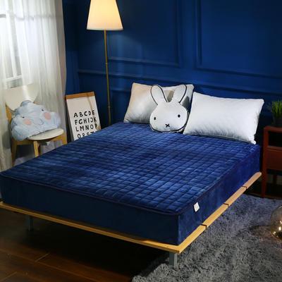 加厚加重保暖水晶绒夹棉床笠 150cmx200cm 深蓝色