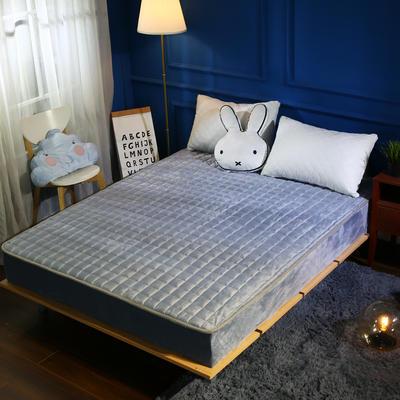 加厚加重保暖水晶绒夹棉床笠 120cmx200cm 灰色
