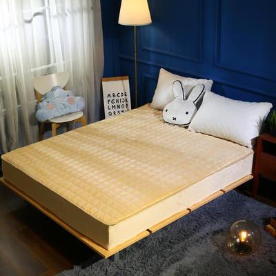 加厚加重保暖水晶绒夹棉床笠 150cmx200cm 驼色