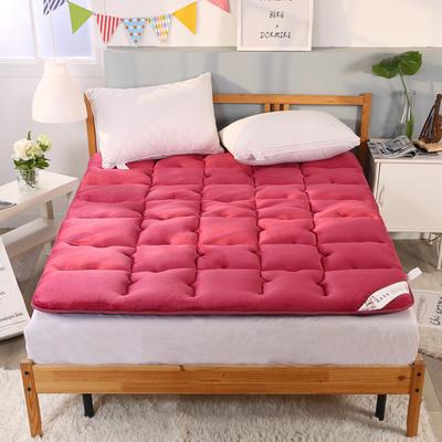 可折叠无痕加厚保暖法莱绒床垫 1.8*2米床 酒红
