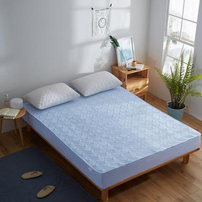 纯色水洗棉绗绣夹棉床笠 150cmx200cm 蓝色