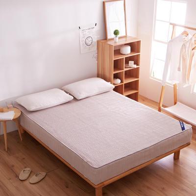 纯色日式色织彩棉加厚夹棉床笠 150cmx200cm 雪青色