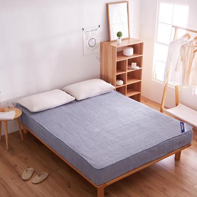 纯色日式色织彩棉加厚夹棉床笠 180cmx200cm 湖蓝色