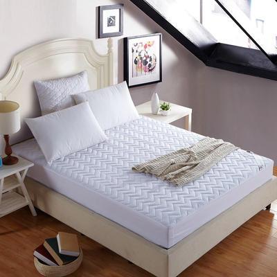 宾馆白色水波纹绗绣360度夹棉床笠 180x200cm 白色
