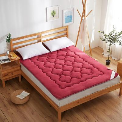 精致保暖法莱绒床垫 0.9*2米床 酒红
