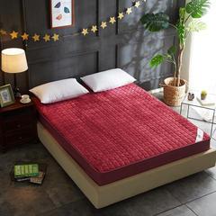 保暖法莱绒竹炭纤维夹棉床笠--小天罗地网 150x200cm 酒红