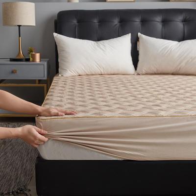 简约纯色全棉绗绣夹棉床笠 180cmx200cm 驼色
