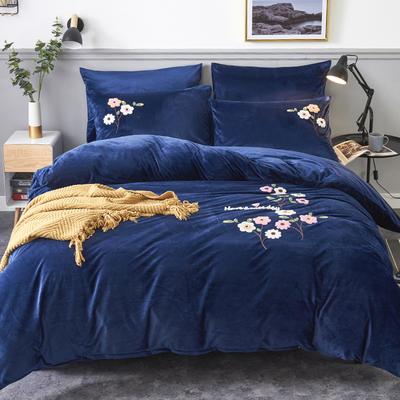 2020年秋冬新品水晶绒毛巾绣四件套 1.2m(4英尺)床 那时花开宝蓝