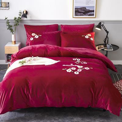 2020年秋冬新品水晶绒毛巾绣四件套 1.2m(4英尺)床 那时花开酒红