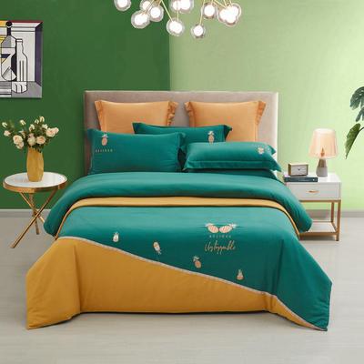 敢为 菠萝加厚磨毛拼接刺绣四件套 1.8米床单款四件套 菠萝-墨绿姜黄