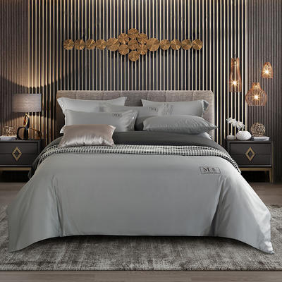 敢为 酒店风刺绣四件套 1.5m床单款四件套 艾庭-银灰高级灰