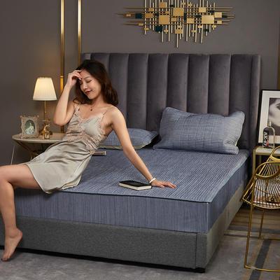 敢为 纯色日式色织彩棉加厚夹棉床笠 150cmx200cm 雪青色