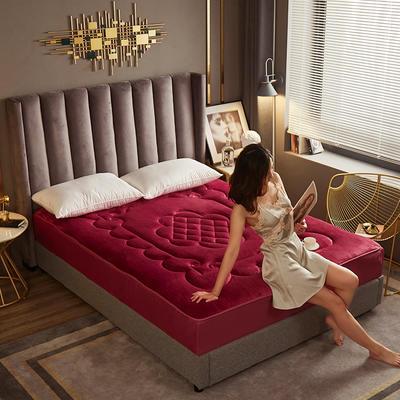 敢为 法莱绒360度床笠式床垫 1.8*2米 酒红