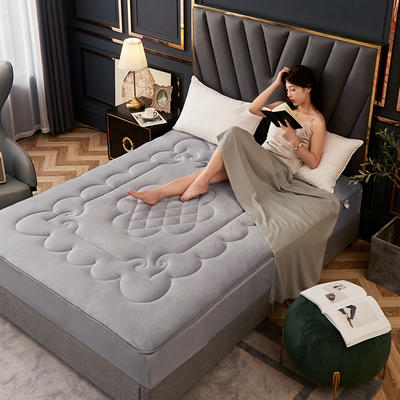 敢为 法莱绒360度床笠式床垫 1.8*2米 银灰