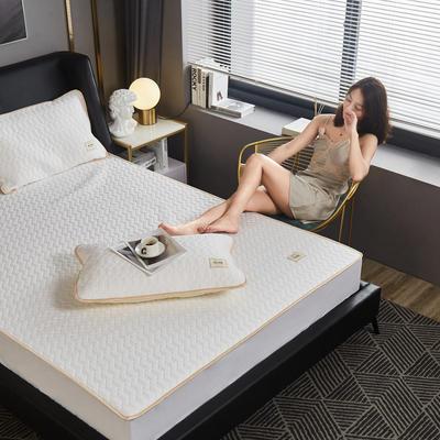 敢为 60s全棉绗绣乳胶床笠式床垫床护垫 150cmx200cm 白色