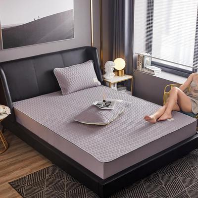 敢为 60s全棉绗绣乳胶床笠式床垫床护垫 120cmx200cm 灰色