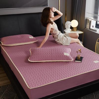 敢为 60s全棉绗绣乳胶床笠式床垫床护垫 150cmx200cm 紫色