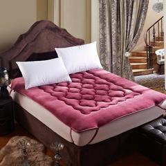 精致保暖法莱绒梅花床垫 0.9*2米床 酒红