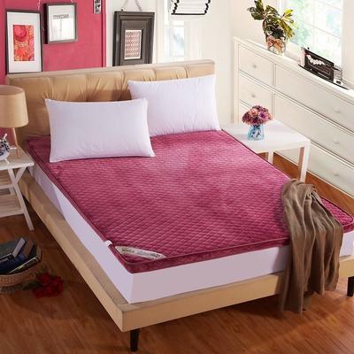 立体绗绣加厚法莱绒床垫 1.8*2米床 酒红