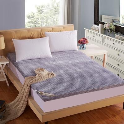 立体绗绣加厚法莱绒床垫 0.9*2米床 银灰