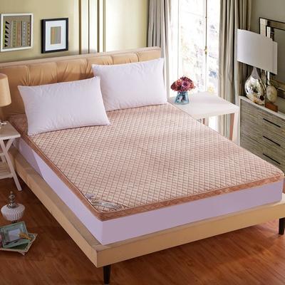 立体绗绣加厚法莱绒床垫 1.8米*2.2米定做驼色 米驼