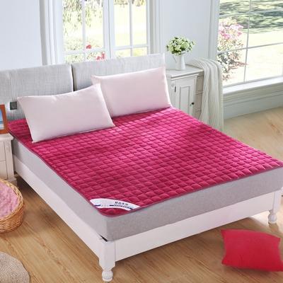 可水洗绗绣厚实保暖法莱绒床垫床护垫 120X200cm 酒红