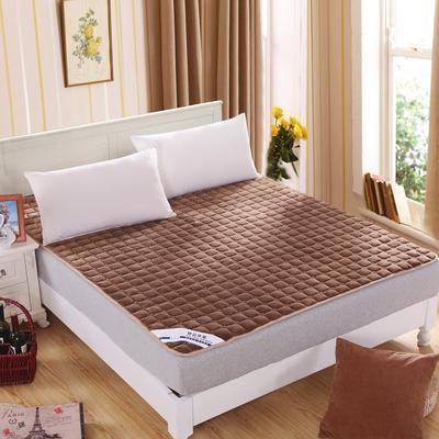 可水洗绗绣厚实保暖法莱绒床垫床护垫 90X200cm 咖啡色