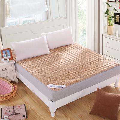 可水洗绗绣厚实保暖法莱绒床垫床护垫 90X200cm 驼色