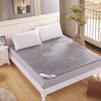 可水洗绗绣厚实保暖法莱绒床垫床护垫 180X200cm 银灰