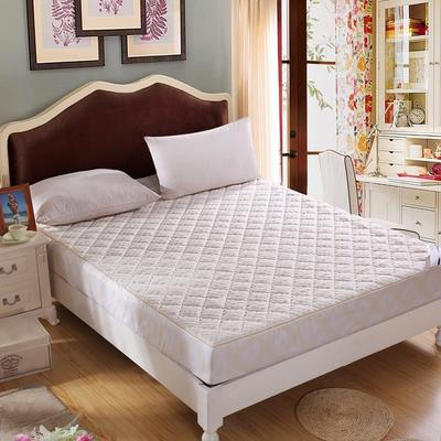 水立方针织布绗绣夹棉床笠 180cmx200cm 奶白色
