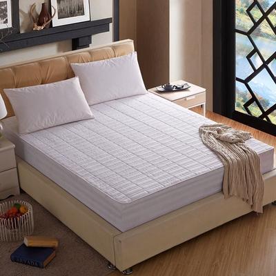 宾馆全棉缎条竹节格绗绣夹棉床笠 150x200cm 全棉-白色