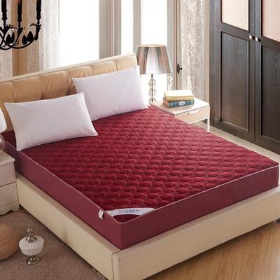 透气网格竹炭纤维夹棉床笠 180x200cm 酒红