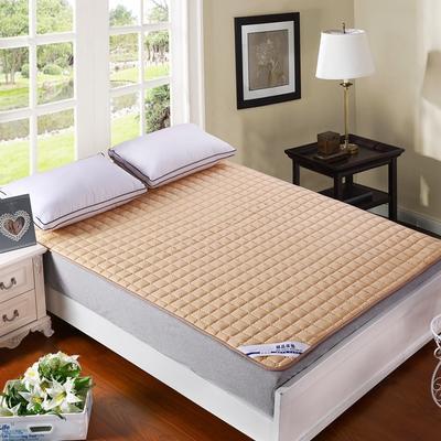纯色可水洗夹棉绗绣床垫床护垫 150X200cm 驼色