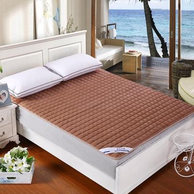 纯色可水洗夹棉绗绣床垫床护垫 180X200cm 咖啡色