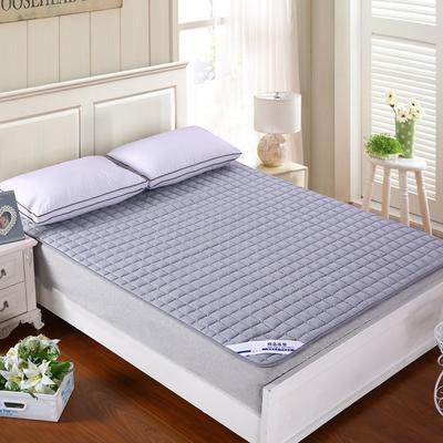 纯色可水洗夹棉绗绣床垫床护垫 180X200cm 银灰色