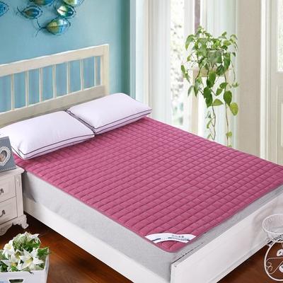 纯色可水洗夹棉绗绣床垫床护垫 120X200cm 酒红色