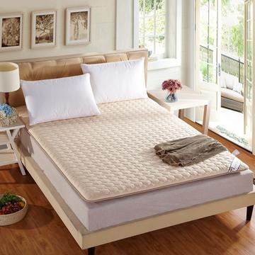 全棉绗绣加厚耐压床垫 90X200cm 驼色