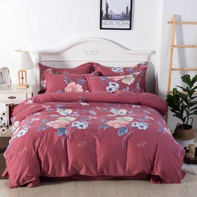 2020年新款全棉纯棉13370全棉四件套 1.2m床单款四件套 梦醒时分-豆红
