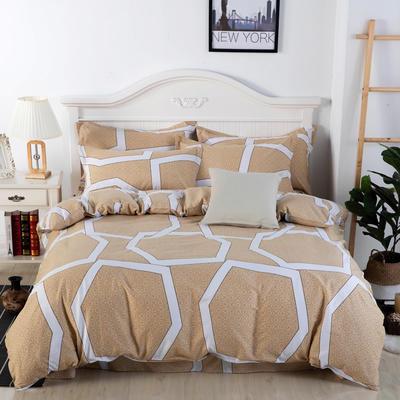 2020年新款全棉纯棉13370全棉四件套 1.2m床单款四件套 艺术色彩-驼