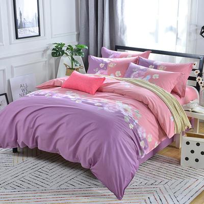 2020年新款全棉纯棉13370全棉四件套 1.2m床单款四件套 遇见幸福-紫