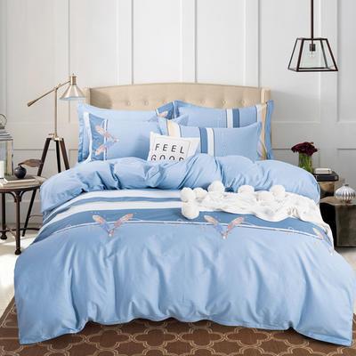 2020年新款全棉纯棉13370全棉四件套 1.2m床单款四件套 霓裳花舞-蓝