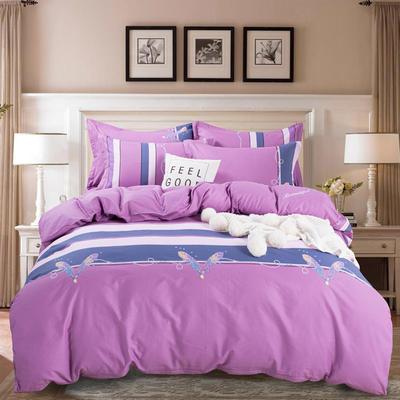 2020年新款全棉纯棉13370全棉四件套 1.2m床单款四件套 霓裳花舞-紫