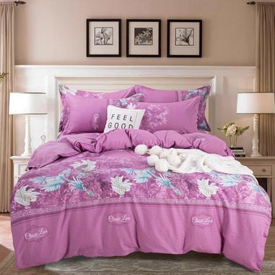 2020年新款全棉纯棉13370全棉四件套 1.2m床单款四件套 生如夏花-紫