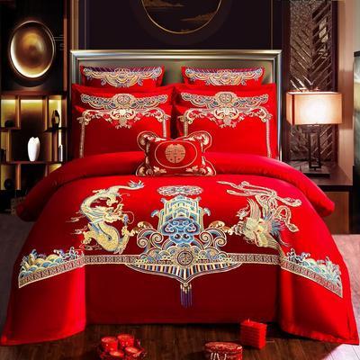 2020新款全棉婚庆四件套多件套 床旗 盛世唐装