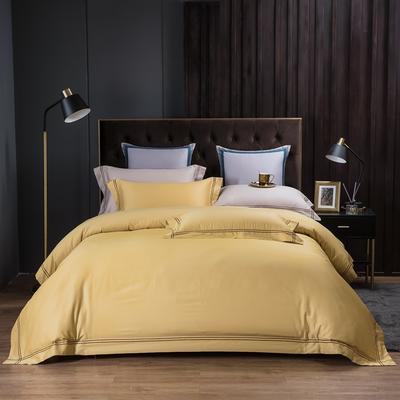 2020新款酒店款全棉四件套纯色轻奢风 1.2m床单款三件套 酒店款-金黄色