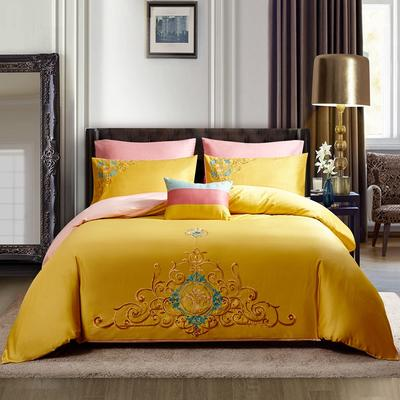 2020新款全棉13372绣花四件套纯棉三件套四件套 1.2m床单款三件套 罗马假日金黄