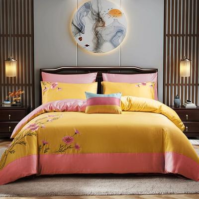2020新款全棉13372绣花四件套纯棉三件套四件套 1.2m床单款三件套 甜蜜花语金黄